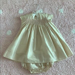 Bonpoint Couture silk Baby girl dress/bloomer 18M